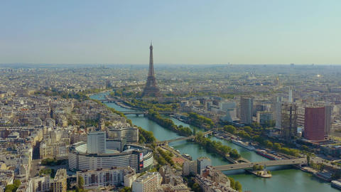 PARIS, FRANCE - MAY, 2019: Aerial drone view of historical city centre with Live Action