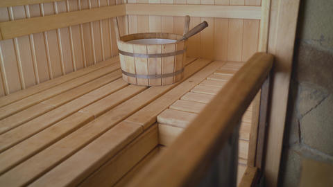 Finnish sauna interior. Wooden interior of the sauna Live Action