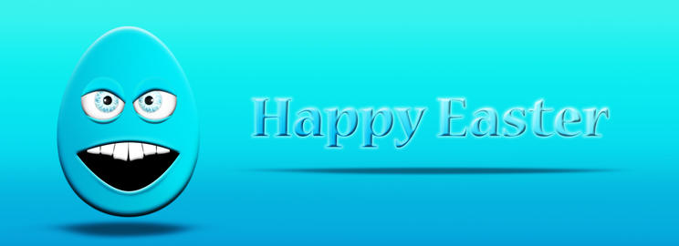 Happy Easter. Colorful Decorative Egg with Eyes and Mouth Illustration Fotografía