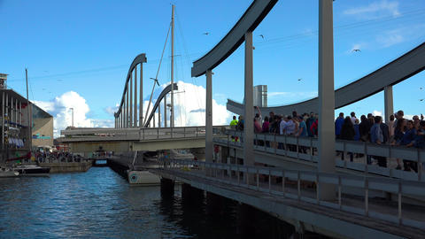 Drawbridge, bridge in the port of Barcelona. Spain. 4K GIF