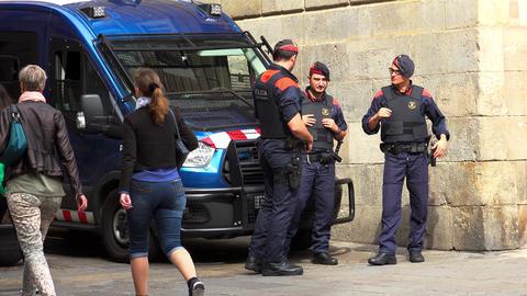 Police in Barcelona. Spain. Policing. 4K GIF