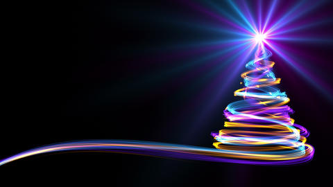 Christmas Tree From Yellow, Blue And Purple Neon Streaks GIF