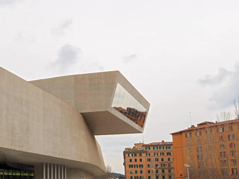 Front of MAXXI. Rome. Italy. Time Lapse Live Action