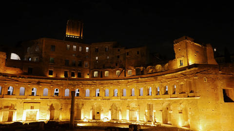 The ruins of Trajan's Market, Night. Rome, Italy Footage