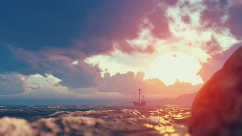 The sea, an island and a lonely ship Footage