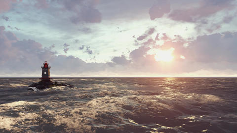 The sea and a lone lighthouse Animation