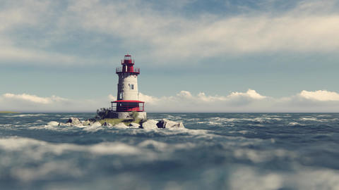 Lone lighthouse in the sea Animation
