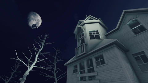 Haunted house at scary moon night Time lapse Footage