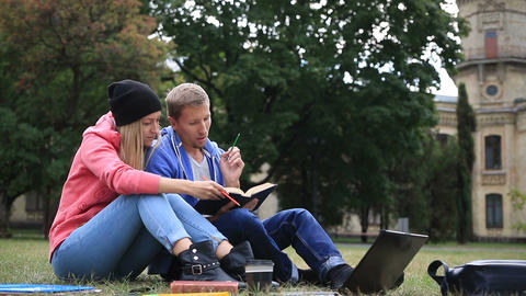 Couple of students enjoying student life Stock Video Footage