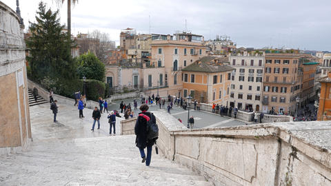 Descend the stairs. Spanish Steps. Rome, Italy Footage