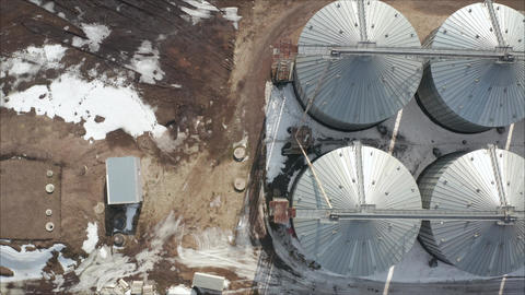 Industrial elevator, top view. High angle aerial view of industrial elevators Live Action