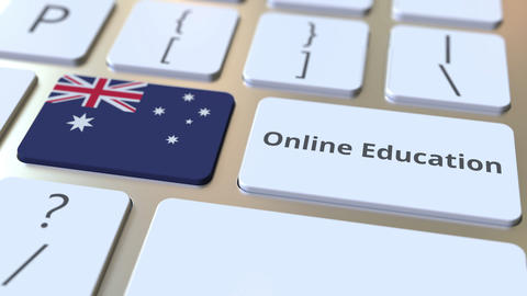 Online Education text and flag of Australia on the buttons on the computer Live Action