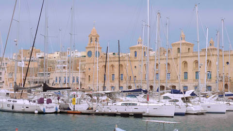 Valletta Grand Harbour district on a sunny day - MALTA, MALTA - MARCH 5, 2020 Live Action