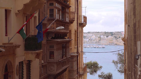 Beautiful house facades in the historic district of Valletta - MALTA, MALTA - Live Action