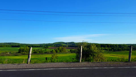 Right Side View Driving by Rural Farmland in Day. Driver Point of View POV Driving Past Countryside Live Action