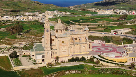 Famous Ta Pinu church on the Island of Gozo - Malta from above Live Action