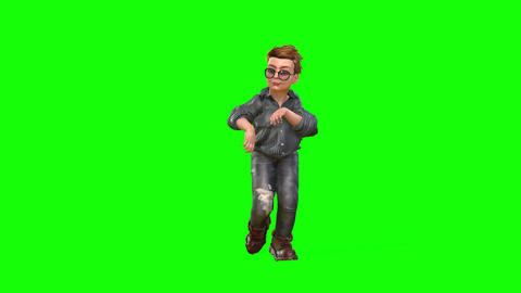 539 4k 3 d animated avatar small boy walking tiptoe running and posing Animation