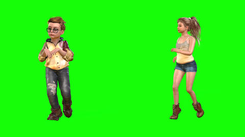 541 4k 3 d animated avatars charming small boy and girl walking together Animation