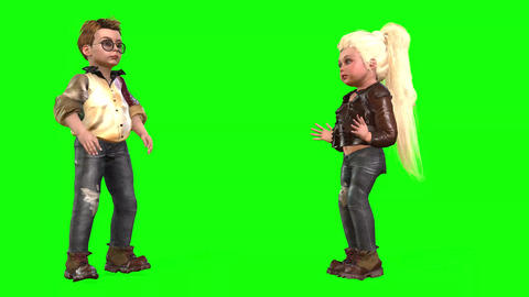 543 4k 3 d animated avatars boy claps and girl talking Animation