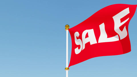 Red sale flag waving in the wind Animation