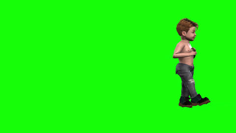 537 4k 3d animated avatar small charming boy walking around Animation