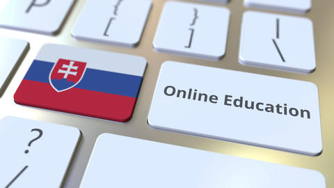 Online Education text and flag of Slovakia on the buttons on the computer Live Action