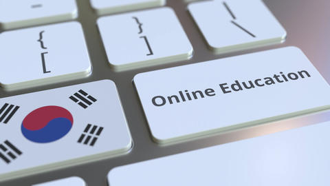 Online Education text and flag of South Korea on the buttons on the computer Live Action