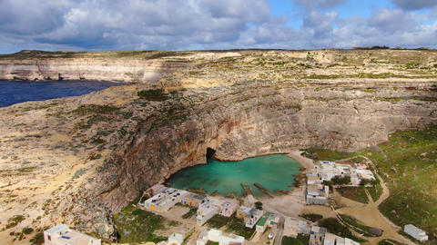 Famous Inland Sea on the Island of Gozo Malta Live Action