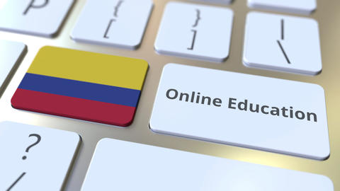 Online Education text and flag of Colombia on the buttons on the computer Live Action