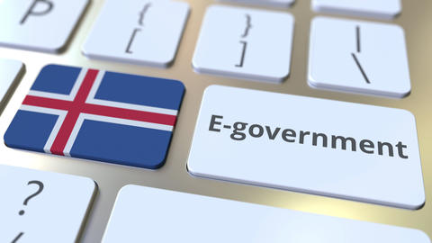 E-government or Electronic Government text and flag of Iceland on the keyboard Live Action