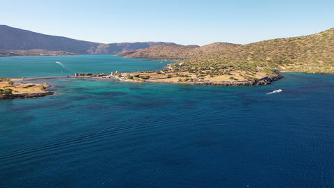 Panorama of Spinalonga Island - island of lepers, Crete, Greece Live Action