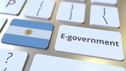 E-government or Electronic Government text and flag of Argentina on the keyboard Live Action