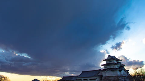 4K Historic Japanese Castle Twilight Timelapse Old Castle Sunset Live Action