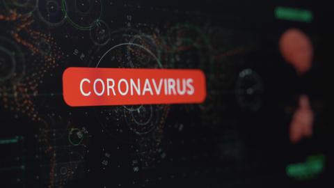 Coronavirus warning Alert on the Computer screen Live Action