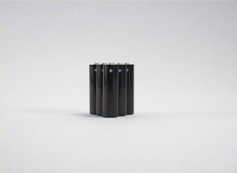 A zoom in to reveal six batteries for a portable... Stock Video Footage