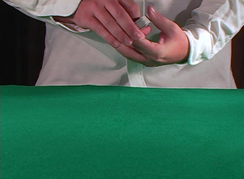 A casino dealer separates and shuffles a deck of cards... Stock Video Footage
