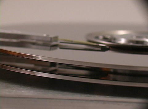 Close up of the inner workings hard drive Stock Video Footage