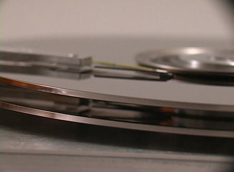 Close Up Of The Inner Workings Hard Drive stock footage