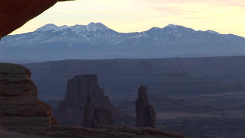 Snow-covered mountains with dramatic mesas in the... Stock Video Footage