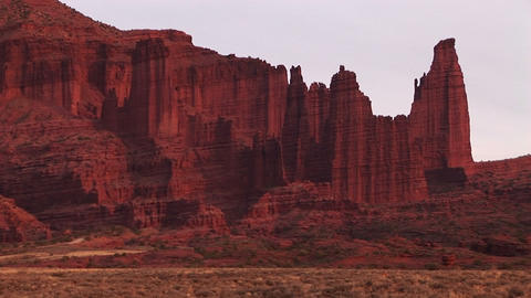 Remarkable cliff formations in the American Southwest desert Stock Video Footage
