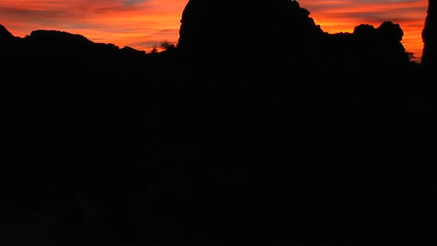 Balanced Rock stands against a brilliant sky in Arches... Stock Video Footage