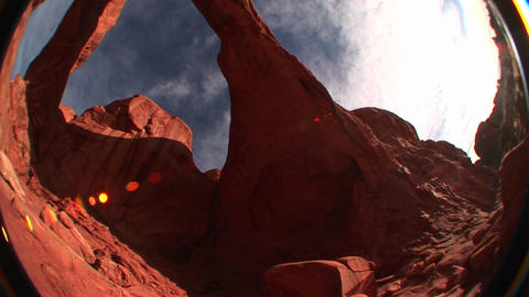 A fish-eye view of Double Arch in Arches National Park, Utah Stock Video Footage