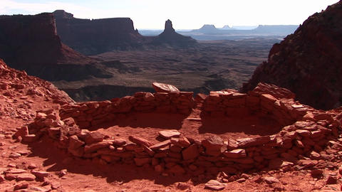 Medium shot of an ancient Indian campground in Canyonlands National Park Footage