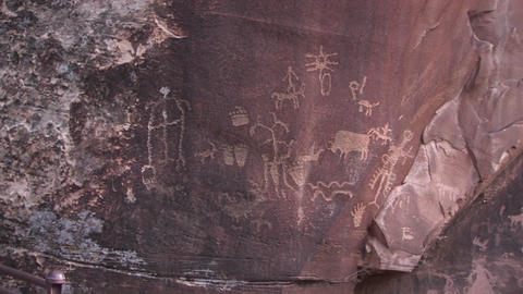 Ancient petroglyphs adorn a rock outcropping in the American West Footage