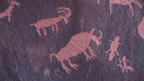Close-up of Native-American petroglyphs picturing animal... Stock Video Footage