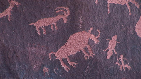 Close-up of Native-American petroglyphs picturing animal figures at Newspaper Rock, Utah Footage