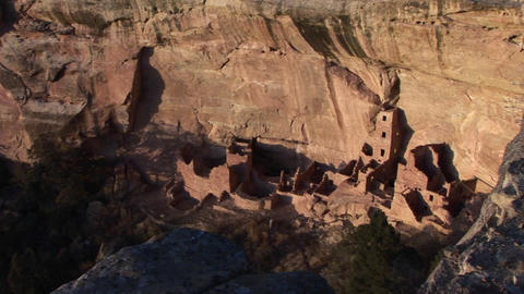 Birds-eye view of an ancient Anasazi ruin in Mesa Verde... Stock Video Footage