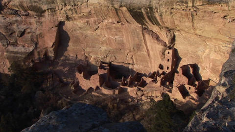 Birds-eye view of an ancient Anasazi ruin in Mesa Verde National Park, Colorado Footage