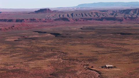 Birds-eye view over a vast Southwest desert Stock Video Footage
