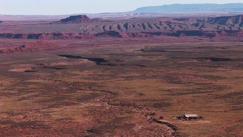 Birds-eye view over a vast Southwest desert Stock Video Footage